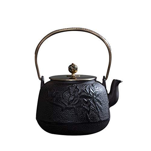 Yinglihua gietijzeren theepot 19x25cm gietijzeren theepot Chinese theepot zwart bloemmotief theeketel voor kachel Top