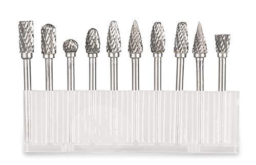 Tungsten Carbide burrs Cutter Rotary Burrs Double Cut Set 6mm Cutting(10 Pcs)