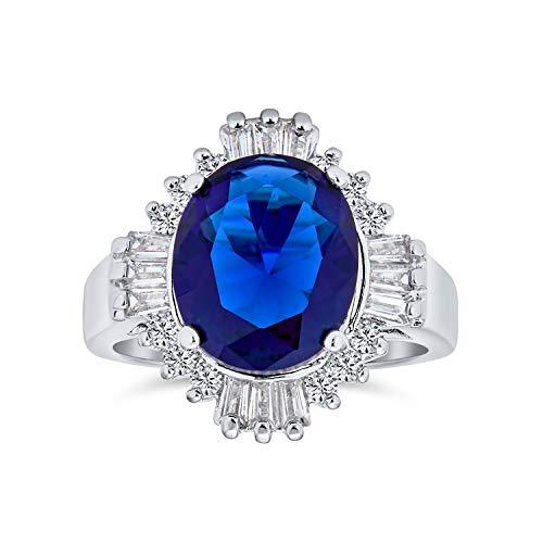 Bling Jewelry Estilo Art Deco Royal Azul Oval Baguette Halo 6Ct CZ Simuladozafiro Anillo para Mujer De Latón Chapados En Plata.