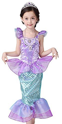 CANIS kleine Mädchen Onesie mit Rüschenärmeln Mermaid Princess-Fantasie-Kostüm(120cm/5-6 Jahre)