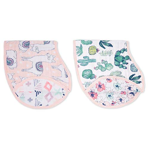 aden + anais Burpy Baby Bib, 100% Cotton Muslin, 4 Layer Multi Use Burping Cloth, Super Soft & Absorbent Burp Rag for Infants, Newborns and Toddlers, 2 Pack, Trail Bloom Llamas