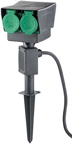 Royal Gardineer Steckdose Outdoor: 4-fach-Garten-Steckdose mit Erdspieß, spritzwassergeschützt IP44 (Gartensteckdose mit Erdspieß)