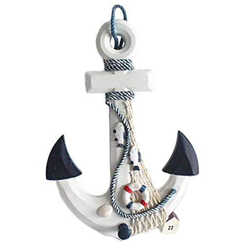 Yiyu Holz-Anker Dekoobjekt,Anker des Schiffes in Form Dekoobjekt,Mediterranen Stil Dekoanker,Wohnzimmer Dekoration,Maritim Symbol Geschenk Hauptdekoration x (Color : Blue)
