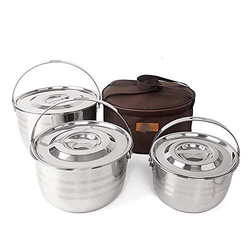 Olla de acero inoxidable de cuatro piezas engrosada de tres capas de la parte inferior de la olla de picnic barbacoa olla camping portátil 4 piezas colgante olla
