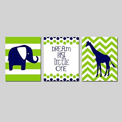 Scott397House Canvas Wall Art Prints for Boy Dream Big Little One Navy Green Nursery Elephant Nursery Giraffe Nursery Nursery Decor Ready to Hang Printing Gift for Home Decoration 12x16, 3 Panels