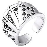 指輪 リング メンズ ロイヤルストレートフラッシュステンレスリング(RBR071) 18号 サージカルステンレス316L フリーサイズ シルバー カジノ ギャンブル トランプ ポーカー
