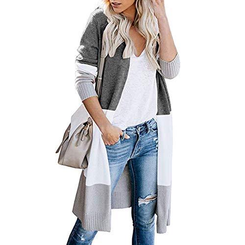 Vertvie Damen Mantel Langarm Open Front Cardigan Strickjacke Asymmetrisch Schnitt Strickmantel Langshirt mit Taschen (EU L/Etikettengröße XL, W-Dunkelgrau)