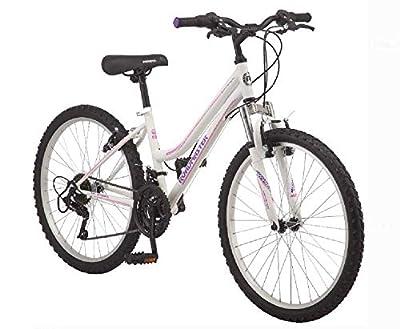 "Roadmaster 24"" Granite Peak Girls' Bike | Front and Rear Handbrakes | Knobby Mountain-Style Tires (White)"