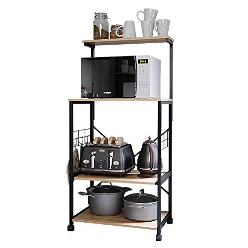 Best Choice Products 3-Tier Portable Wooden Rolling Kitchen Utility Storage Organizer Serving Bar Trolley Cart w/Stainless Steel Top, Towel Rack, Locking Casters, Natural