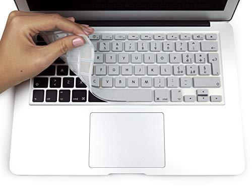 MyGadget Protezione Tastiera QWERTY [Italiano] MacBook Air 13  PRO Retina 13  & 15  (Fino al 2016) - Copertura Skin Silicone – Argento