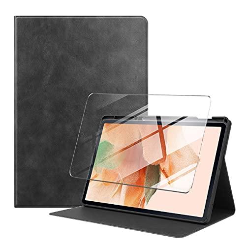 LYZXMY Funda + Protector Pantalla para Samsung Galaxy Tab S7 FE 12.4' SM-T730 / SM-T736 - Vidrio Templado, Carcasa Silicona Tablet Cover con Soporte Función Caso PU Flip Case NPW-Negro