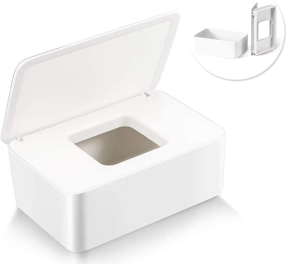 Dispenser Holder with Lid for Home White Delisouls Wet Wipes Dispenser Dry Wet Tissue Paper Protective Cover Dust-free Fabric Storage Box Case