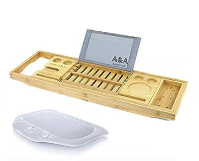 A&A Essentialz - Luxury Premium Bathtub Caddy Bonus Free Bath Pillow, Holds Book, Tablet or Smartphone - Bathtub Tray with Extending Arms
