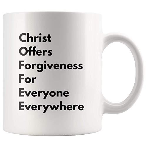 Kaffee Christus bietet Vergebung für alle überall Becher Inspirierende Neuheit Idee für Christian Preacher Pastor Klerus Frau Mann Kaffeebecher