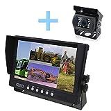 YATEK Set de cámara Marcha atrás y Monitor AHD de 9' + cámara 1080P de visión Trasera para aparcar vehículos