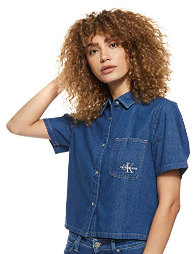 Calvin Klein Jeans SS Cropped Utility Shirt Camicia, CA044 Blu Medio, M Donna