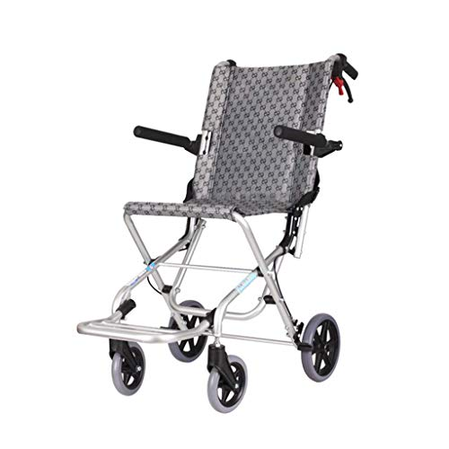 BJYG Ultral-Light Transport Wheelchair,Manual Folding Portable Medical Aid Chair with Handbrake Swing Away Pedal Armrest Seat,Mobility Push Heavy Duty Trolley Wheelchair for Adult/Children B