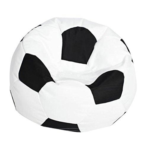 Fußball Sitzsack Bezug Bean Bag Sessel Sitzkissen Bezüge Abdeckung für Wohnzimmer Kinderzimmer - Weiß