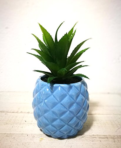 "Artificial Potted Succulent 7.8"" Pineapple Home Deco Tabletop Decoration (Light Blue)"
