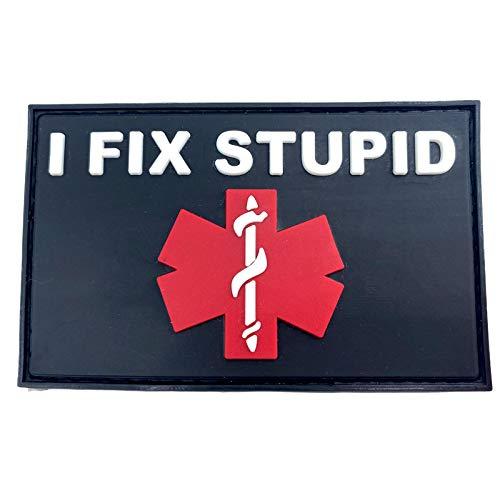I Fix Stupid Medic Taktisch Airsoft PVC Klett Emblem Abzeichen Patch (Schwarz Rot)