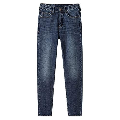 N\P Jeans Mujer Primavera Cintura Alta Elástico Slim Fit Pequeño Pie Lápiz Pantalones Jeans Mujer, Azul3., M