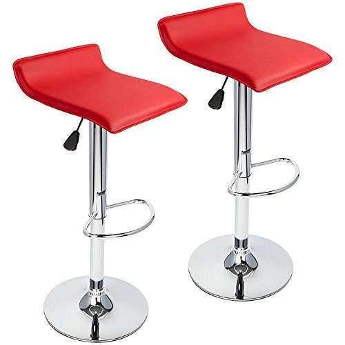 PULUOMIS 360 Degree Swivel Adjustable Bar Stool, Mordern Faux Leather Pub Chair, Counter Low Profile Barstools, Set of 2, Red