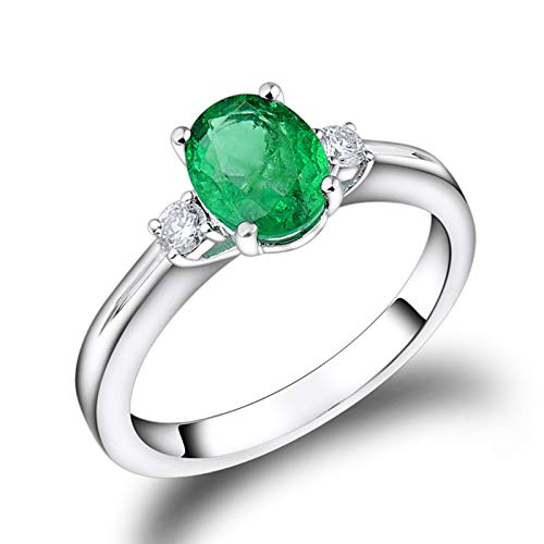 AmDxD no-metal-stamp (Fashion only) oro blanco 18 ct ovalada Green Emerald