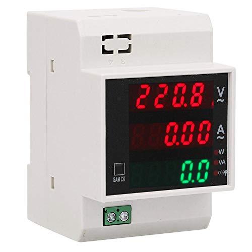 Misuratore di potenza Voltmetro Amperometro, Multi-funzionale Digital Din Rail Fattore di potenza Tensione Corrente Tester di potenza, Multimetro Volt Amp Watt Meter(AC 200-450 / 100A)