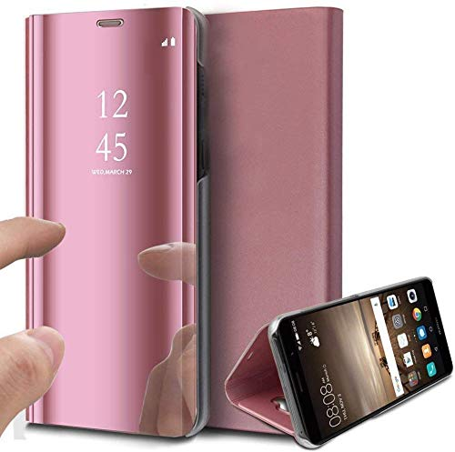 Suhctup Coque Compatible pour Samsung Galaxy M20 Miroir Housse Clear View Plating Translucide avec Fonction Stand Etui à Rabat Cover Flip Case,Protection Coques avec PC et Cuir(Or Rose)