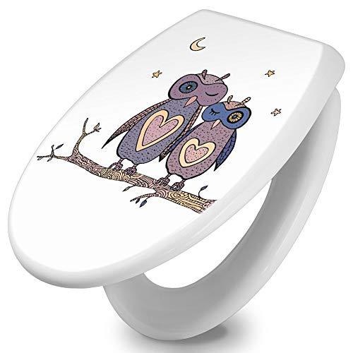 banjado Toilettendeckel Holz | WC Sitz weiß 42cm x 3,5cm x 37cm | Klodeckel aus MDF weiß | Klobrille mit Edelstahl Scharnieren | Toilettensitz mit Motiv Verliebte Eulen