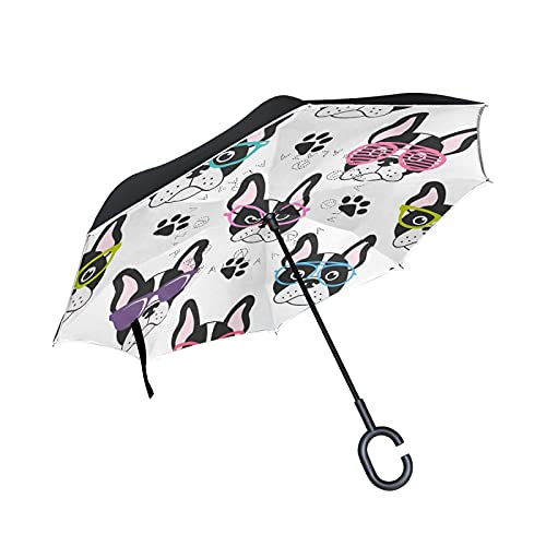 French Bulldogs with Colorful Sunglasses Seamless on White Large Inverted Umbrella, Rain Reverse Sun Parasol, Double Layer Car Umbrella with UV Protection Upside Down with C-Shaped Handle