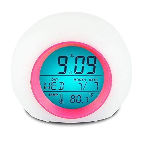 YUES Reloj Despertador Digital para niños con Calendario y termómetro,7 Colores Cambio de luz con Control táctil Junto a la Cama (Rosado)