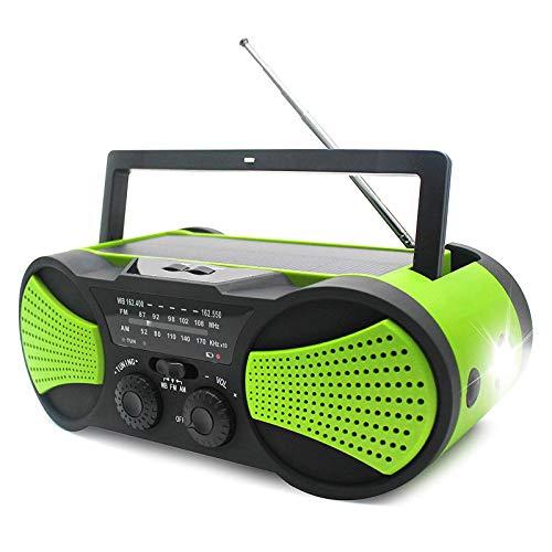 LIUDOU Notfallwetterkurbel Solar Radio Mit Audioeingang, Power Bank, Taschenlampe, Leselampe und SOS-Alarm Für Hurrikane, Tornados, Stürme