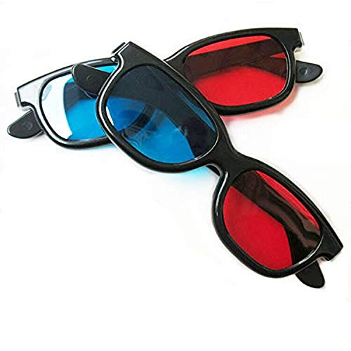 2pcs Red-Blue/Cyan Anaglyph 3D Clip-on Glasses with Box Case Glasses for 3D TV 3D Movie Game Clip Glasses (Blue red)