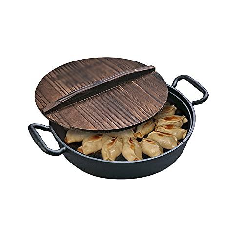 CJSWT Sartén para Asar, sartén, sartén para Hornear de Hierro Fundido con Asas de Bucle, sartén para Pizza con Plancha Redonda, sartén Antiadherente para cocinar, freír, dorar y Hornear