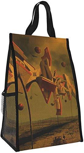 Bolsa de aislamiento plegable, bolsa de almuerzo portátil de arte surrealista, bolso de picnic de gran capacidad para viajes de oficina de trabajo
