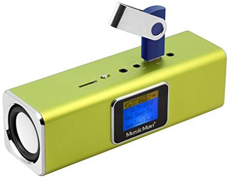 MusicMan MA Soundstation/Stereo luidspreker met geïntegreerde batterij en LCD-display (MP3-speler, radio, micro-SD-kaartsleuf, USB-slot) groen
