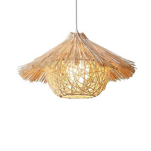Xungzl Arte de bambú moderno y sencillo Colgante de hogar Iluminación Araña decorativa en un restaurante de estilo pastoral en el sudeste asiático japonés ratán de mimbre equipo de iluminación lámpara