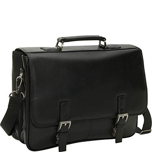 Kenneth Cole Reaction Uma breve história de bagagem, Um portfólio de negócios de 15,6 polegadas com compartimento duplo de couro genuíno da Breve History, Preto, One Size