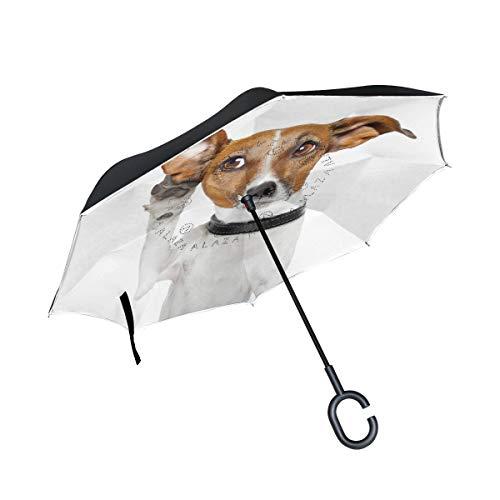 Rode outdoor paraplu, C-vormige handgreep, omgekeerd, dubbellaags, winddicht, voor honden
