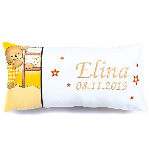 Amilian Kissen 40 x 20 cm mit Namen und Datum bestickt Geschenk zur Geburt Taufe zum Namenstag personalisiert fürs Baby inkl. Bezug 100% Baumwolle Muster: Bär auf der Leier Ecru Weiß