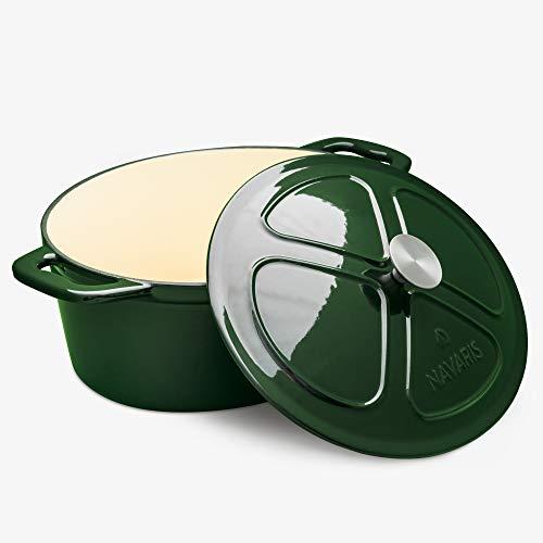 Navaris Cacerola de Hierro Fundido con Tapa - Cazuela de 7.7 L con Asas para cocinar en Horno Plancha inducción - Olla cocotte Redonda de 36 CM