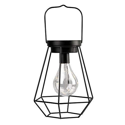 JHY DESIGN 21cm hohe Tischlampe Batteriebetriebene Schnurlose Schreibtischlampe mit Edison-Glühbirne für für Outdoor Home Balkon Schlafzimmer Hochzeiten Partys Indoor (Schwarzes Metall, Diamant-Form)