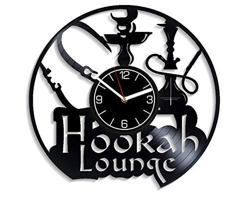 Kovides Hookah Vinyl Record Wall Clock Hookah Art Smoking Decoration 12 inch Wall Clock Hookah Lounge Art Birthday Gift For Boy Smoking Wall Art Entertainment Gift Hookah Vinyl Clock Xmas Gift For Man