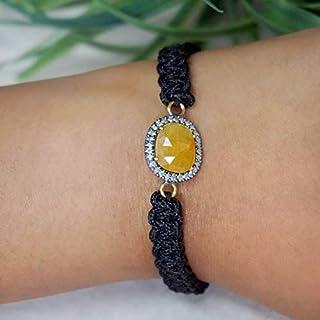 Genuine Yellow Sapphire 925 Sterling Silver Black Onyx Beads Macrame Bracelet Handmade Thread Jewelry Valentine Jewelry Gifts