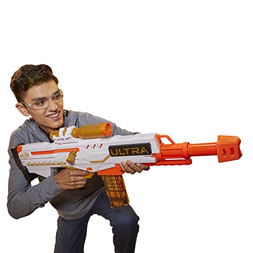 NERF Ultra Pharaoh Blaster with Premium Gold Accents, 10-Dart Clip, 10 Ultra Darts, Bolt Action, Compatible Only Ultra Darts