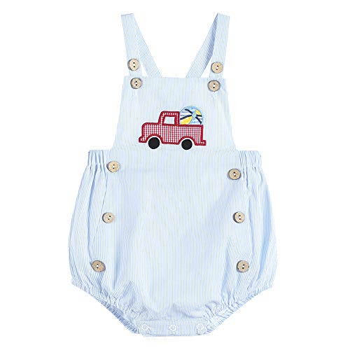 Lil Cactus Baby & Toddler Boys Classic Embroidered One Piece Bubble Romper, Light Blue Stripe Truck, 3-6 Months