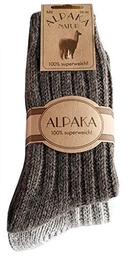 dunaro 2 Paar Alpaka Socken Wollsocken besonders kuschelig warm für Damen Herren (2 Paar / 47-50 Braun-Grau)