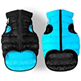 Lightweight Reversible Winter Dog Coat - Warm Dog Jacket - Water Resistant Windproof - Insulated Dog Apparel for Small, Medium & Large Dogs - Comfortable Dog Puffer Vest - XS 25- Black Blue