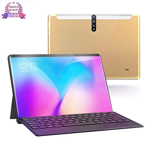 Tablet 10 Inch, Android 9.0 4G / 5G Tabletten PC met dual SIM-kaart slots en camera, 32GB opslag, quad-core processor, Google Certified, Bluetooth, Wi-Fi, GPS,Gold